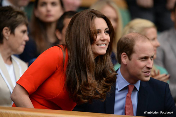 Duchess of Cambridge Kate Middleton wows in red dress at Wimbledon tennis today