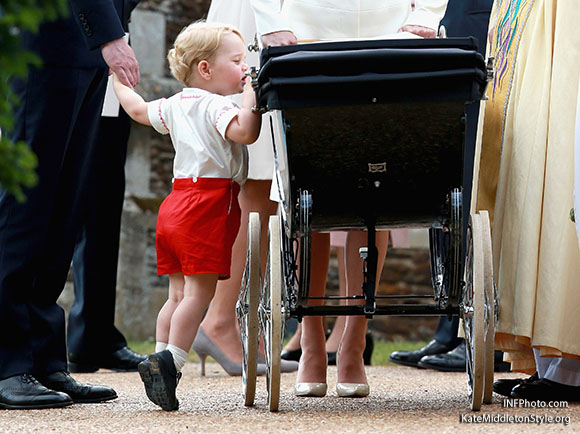 ***MANDATORY BYLINE TO READ INFPhoto.com ONLY***<BR /> Catherine, Duchess of Cambridge, Prince William, Duke of Cambridge, Princess Charlotte of Cambridge, Prince George of Cambridge, at the christening of Princess Charlotte of Cambridge at the church of St Mary Magdalene on the Sandringham Estate in King's Lynn, UK. <P> Pictured: Prince George of Cambridge <B>Ref: SPL1071653  050715  </B><BR /> Picture by: INFphoto.com<BR /> </P><P>