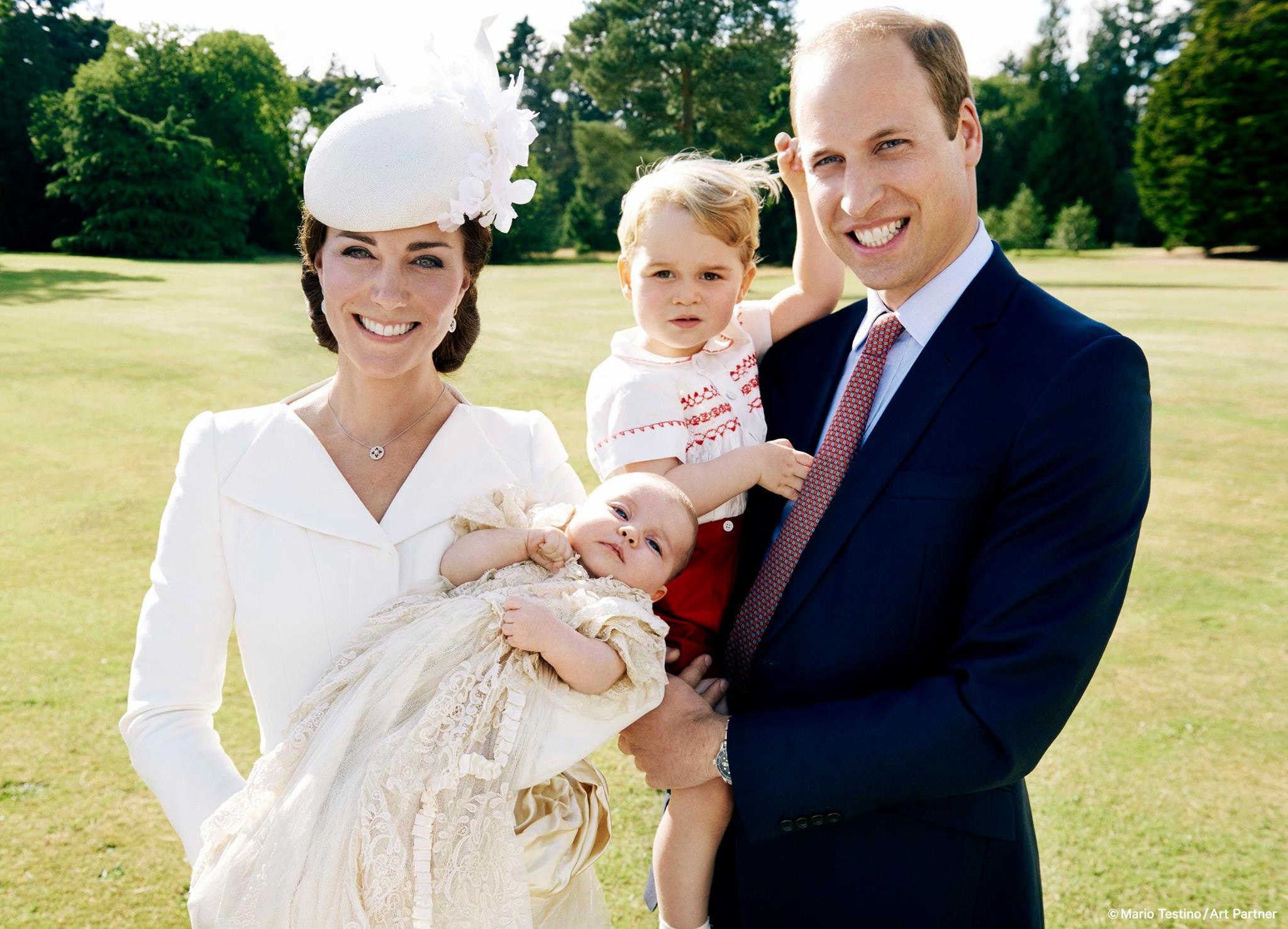 Cambridge family group shot after Princess Charlotte's christening