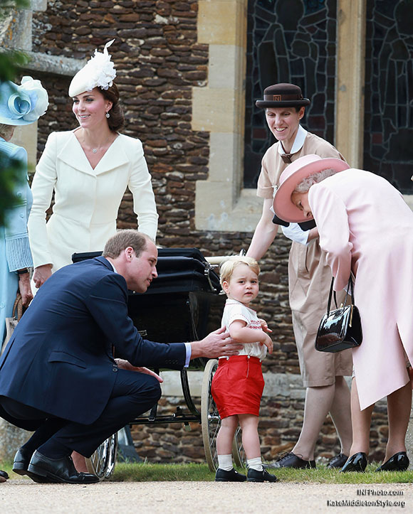 ***MANDATORY BYLINE TO READ INFPhoto.com ONLY***<BR /> Catherine, Duchess of Cambridge, Prince William, Duke of Cambridge, Princess Charlotte of Cambridge, Prince George of Cambridge, at the christening of Princess Charlotte of Cambridge at the church of St Mary Magdalene on the Sandringham Estate in King's Lynn, UK. <P> Pictured: Catherine, Duchess of Cambridge, Prince William, Duke of Cambridge, Princess Charlotte of Cambridge, Prince George of Cambridge, Queen Elizabeth II <B>Ref: SPL1071653  050715  </B><BR /> Picture by: INFphoto.com<BR /> </P><P>