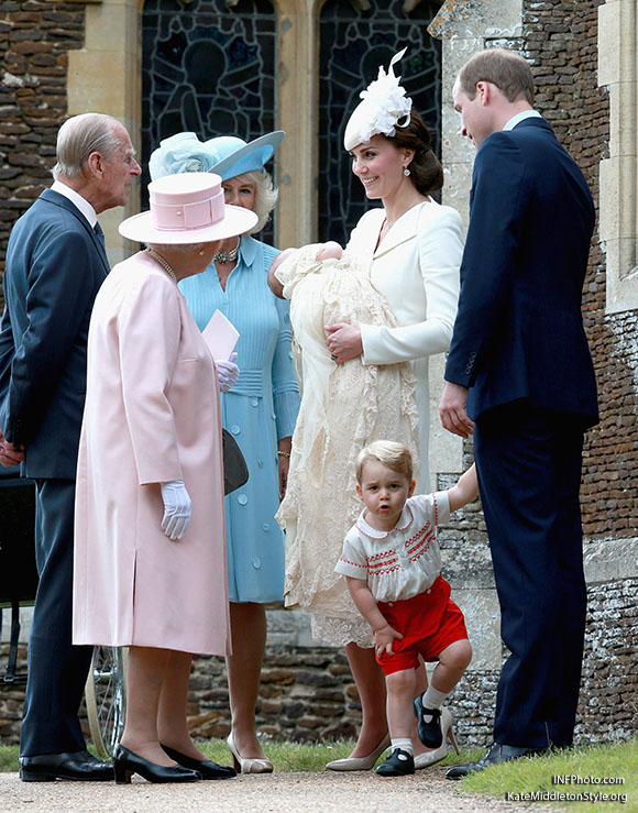 ***MANDATORY BYLINE TO READ INFPhoto.com ONLY***<BR /> Catherine, Duchess of Cambridge, Prince William, Duke of Cambridge, Princess Charlotte of Cambridge, Prince George of Cambridge, at the christening of Princess Charlotte of Cambridge at the church of St Mary Magdalene on the Sandringham Estate in King's Lynn, UK. <P> Pictured: Catherine, Duchess of Cambridge, Prince William, Duke of Cambridge, Princess Charlotte of Cambridge, Prince George of Cambridge, Queen Elizabeth II, Prince Phillip, Duke of Cambridge, Camilla, Duchess of Cornwall <B>Ref: SPL1071653  050715  </B><BR /> Picture by: INFphoto.com<BR /> </P><P>