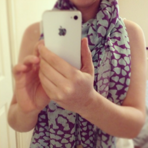 Beulah-London-Shibani scarf in purple, pink and blue
