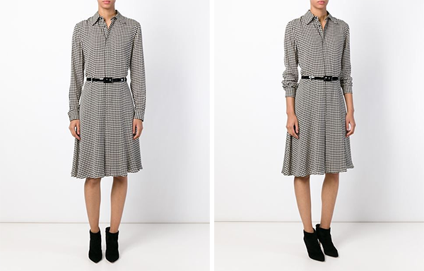 Ralph Lauren Austin Houndstooth Silk Shirtdress