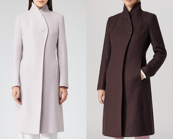 Reiss Emile coat in pink and burgundy