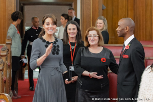 Duchess repeats Orla Keily dress for visit to Chance UK in Islington