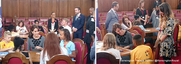 Kate with kids at the ChanceUK charity event today