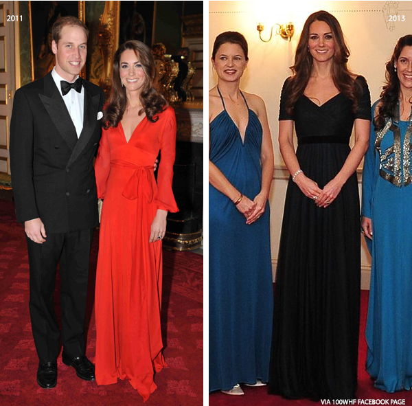 Kate Middleton at the 100 Women in Hedge Funds Gala in 2011 and 2013