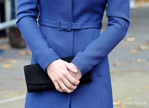 Christopher Kane dogtooth coat in blue and Stuart Weitzman Muse bag