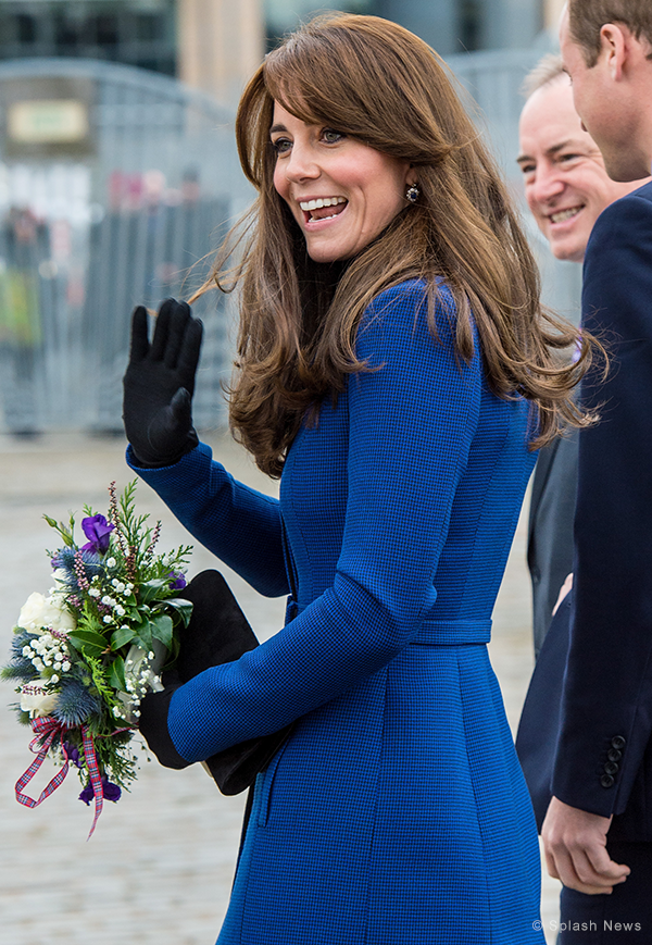Duchess of Cambridge in Dundee wearing sapphire earrings and gloves