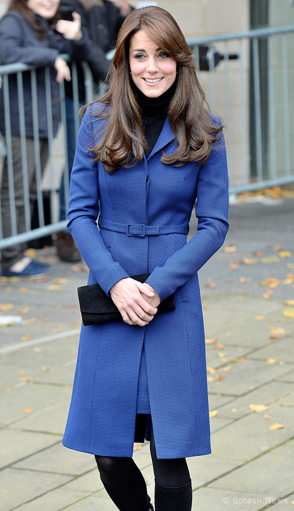 Duchess of Cambridge wears a bright blue coat by Christopher Kane