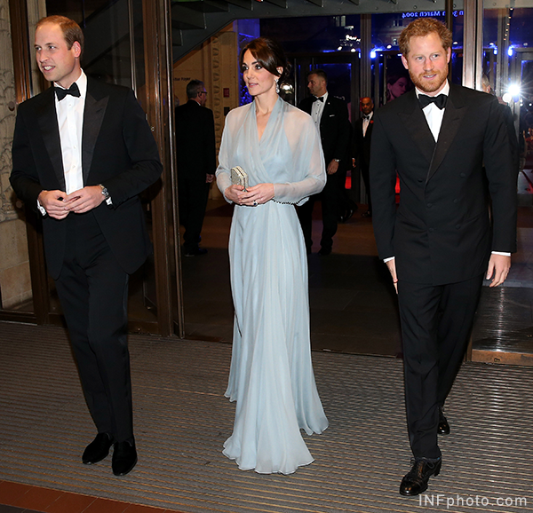 William, Kate and Harry attend the James Bond Spectre Premiere