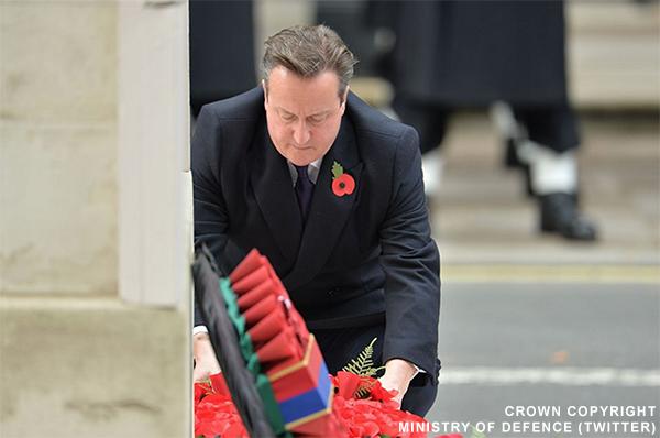 David Cameron laying a Poppy Wreath