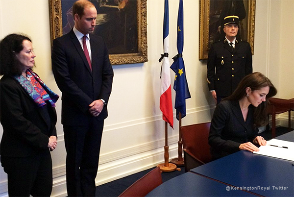 Duchess of Cambridge signs Condolence book for Paris victims