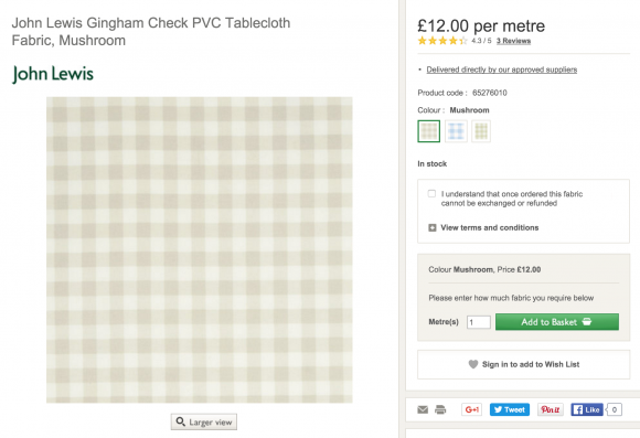 Kate Middleton's Fabric from John Lewis