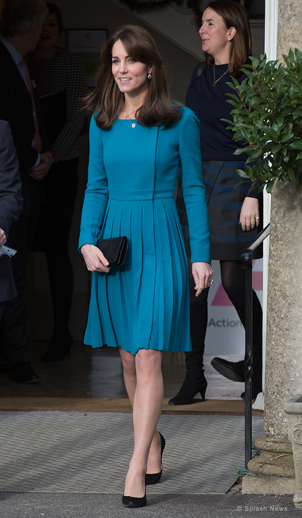 Kate wears vibrant teal Emilia Wickstead dress