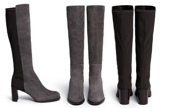 Stuart Weitzman Half and Half Boots in grey
