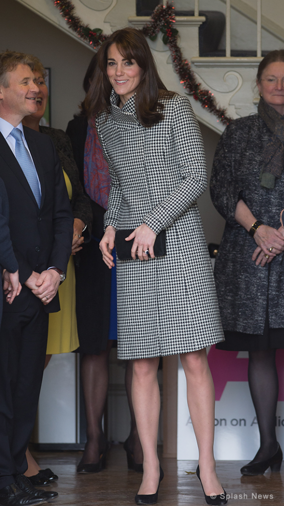 Kate sporting a new Reiss Coat at the Action on Addiction Centre