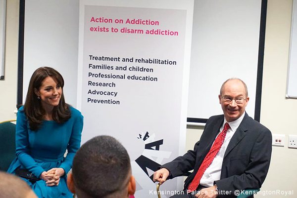 Kate meets with a tutorial group at the Action on Addiction Centre