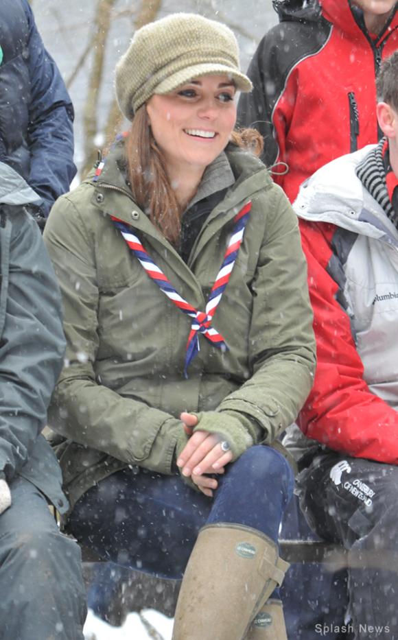 Kate Middleton wears Le Chameau Vierzonord wellington boots during a visit with the Scouts