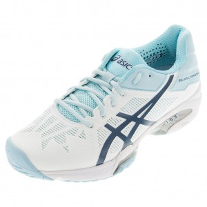 Asics GEL Solution Speed 3 tennis shoes in white and blue