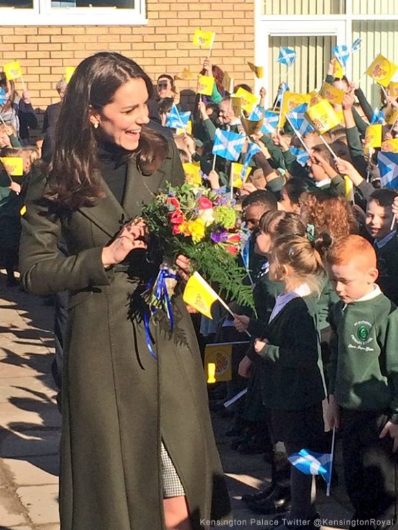 Kate waves farewell at St Catherine's school in Edinburgh