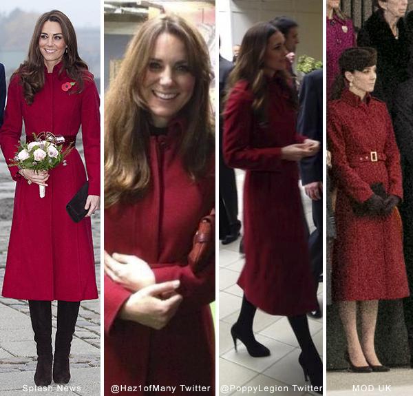 Kate wears the L.K. Bennett Ami coat in red