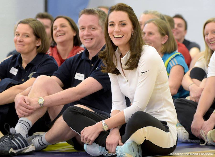 Kate Middleton wearing her sports clothing for the tennis coaching event