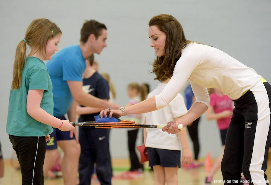 Kate Middleton coaching children Tennis