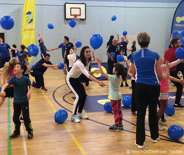 Kate Middleton playing balloon tennis