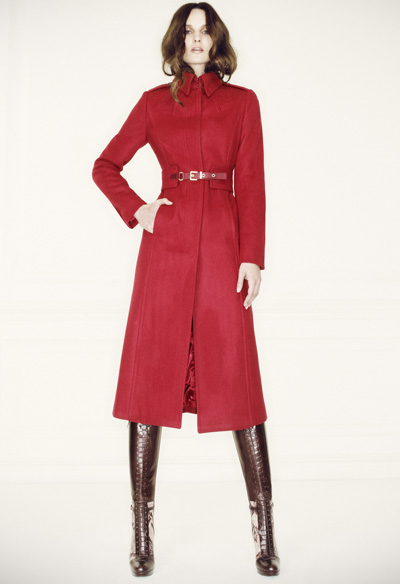 L.K. Bennett Model wearing the burgundy red Ami coat