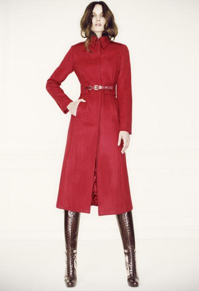 L.K. Bennett Model wearing the burgundy red Ami coat