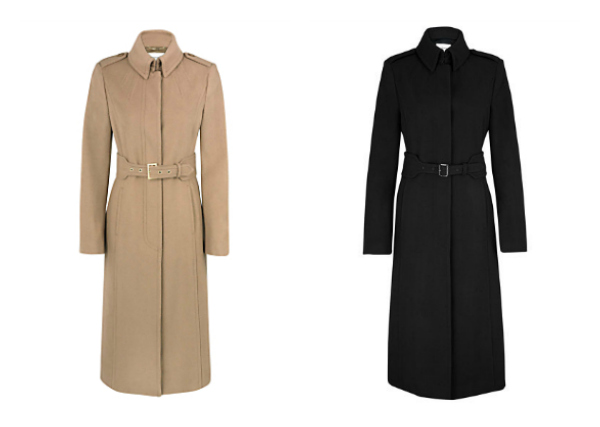L.K. Bennett Ami coat in black and toffee