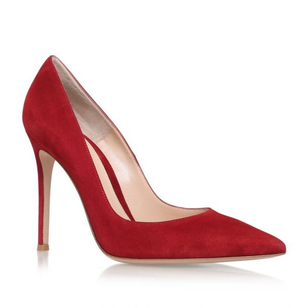 Gianvito Rossi Bari Suede Courts in Red