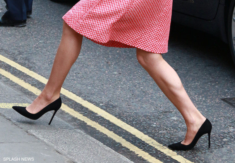 Kate wearing her black suede Gianvito Rossi pumps
