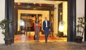 Kate wears Tory Burch dress for dinner with the King and Queen of Bhutan