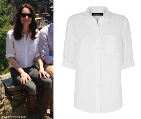 Kate Middleton wearing a Jaeger linen blouse