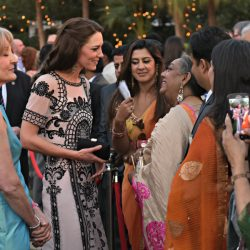 Kate wears Alice Temperley to reception celebrating The Queen's 90th Birthday in New Delhi