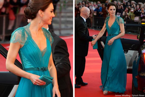 Kate Middleon wears a teal Jenny Packham dress