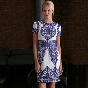 Naeem Khan white & blue embroidered dress