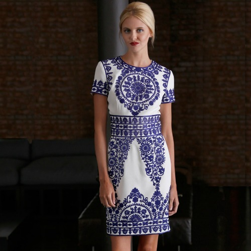 Naeem Khan Blue White Embroidered Dress