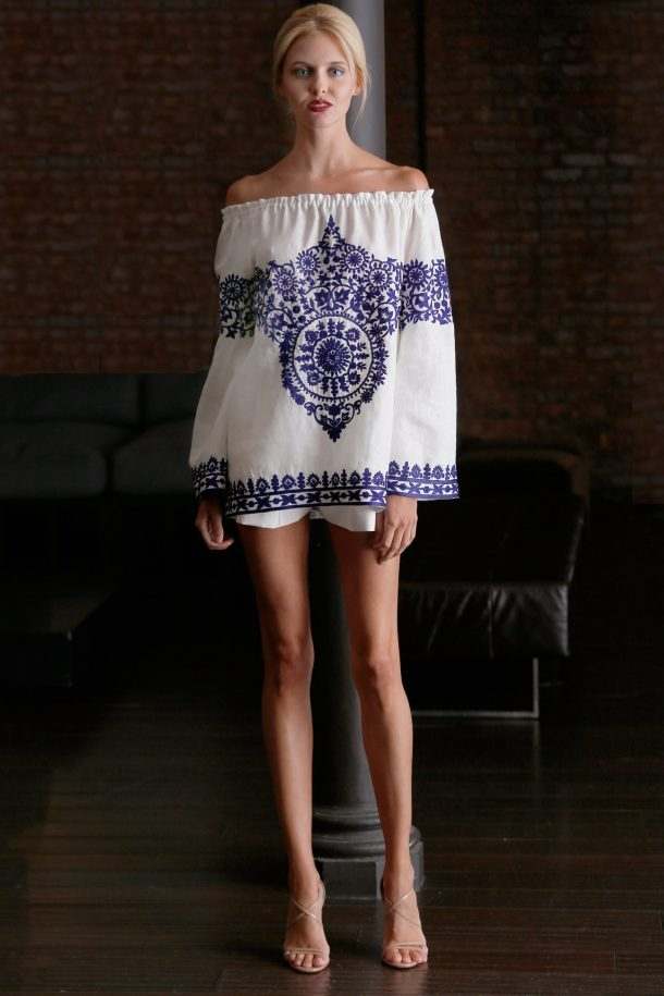 Naeem Khan Peasant Blouse With Mexican Embroidery