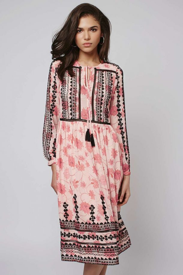 Pink and black embroidered dress from Topshop