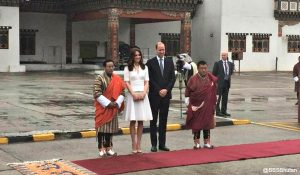 Kate rewears white broderie anglaise suit to leave Bhutan