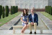 Kate Middleton's wearing Naeem Khan dress and L.K. Bennett Fern heels in nude at the Taj Mahal