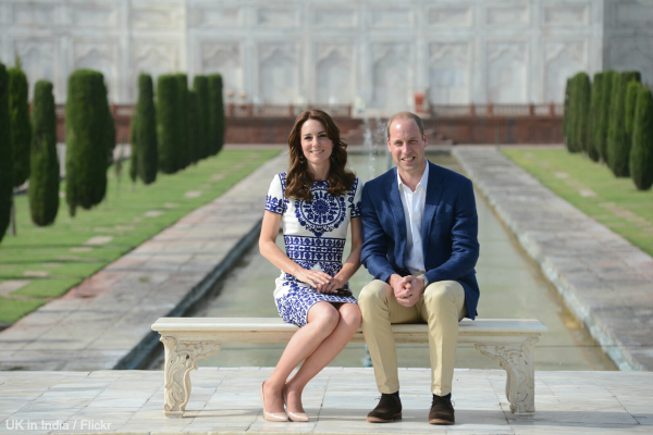 Kate Middleton's wearing Naeem Khan dress and L.K. Bennett Fern heels in nude at the Taj Mahal