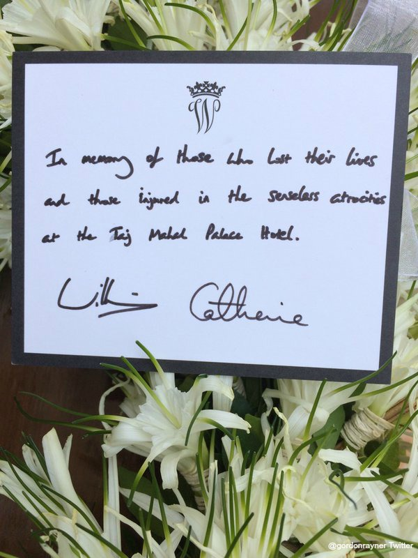 The tribute William and Kate wrote with the wreath