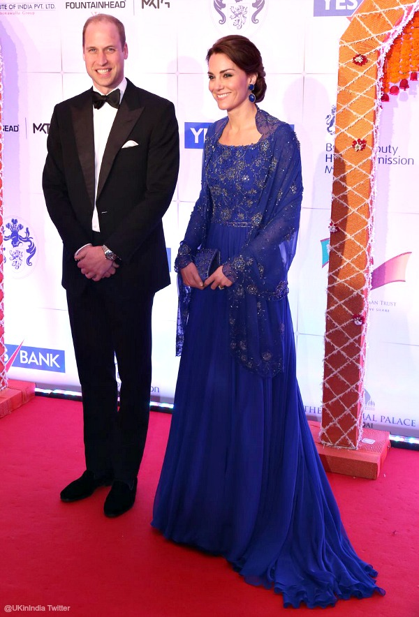 Kate Middleton wears a blue Jenny Packham gown