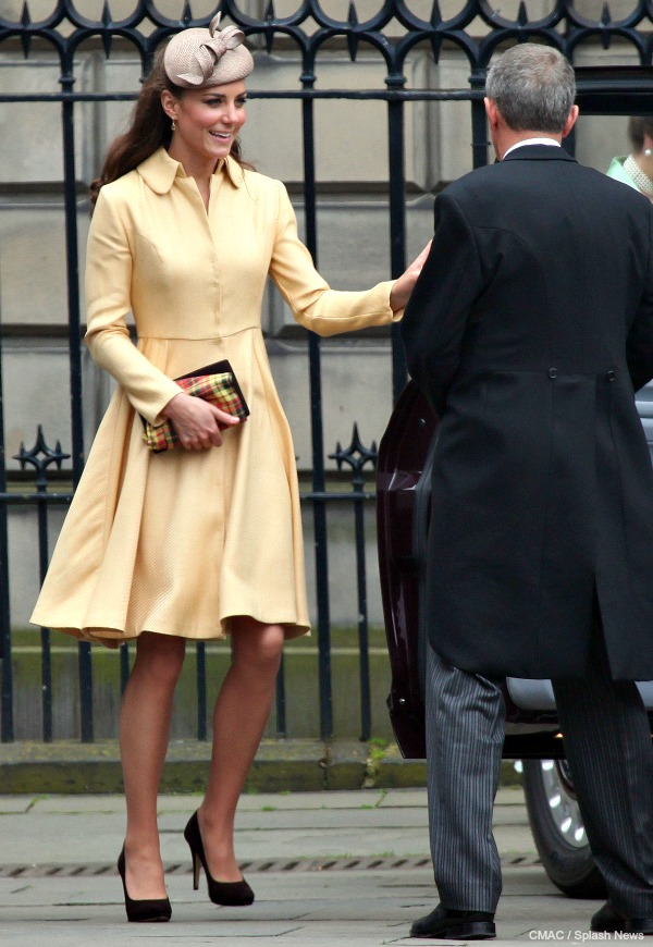 Kate Middleton wearing Emilia Wickstead in 2012 to the Order of the Thistle ceremony in Scotland