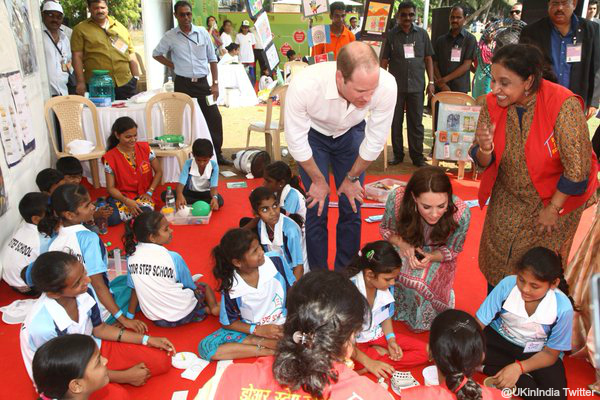 William and Kate meeting with children in Mumbai, India