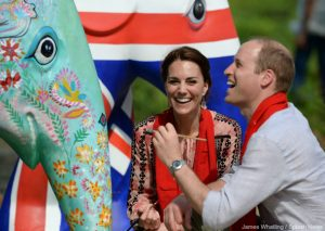 Kate changes into Topshop dress to feed baby elephants